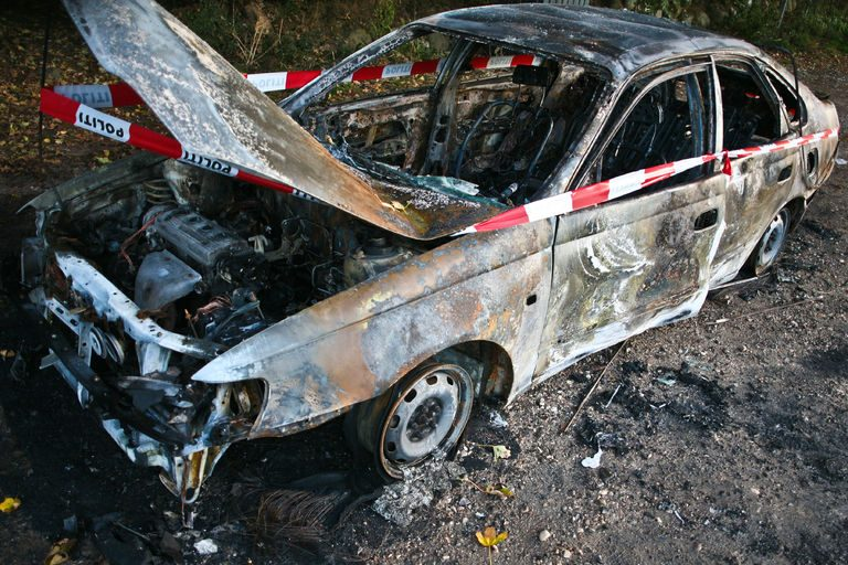 43892123 - car burned after an accident in denmark